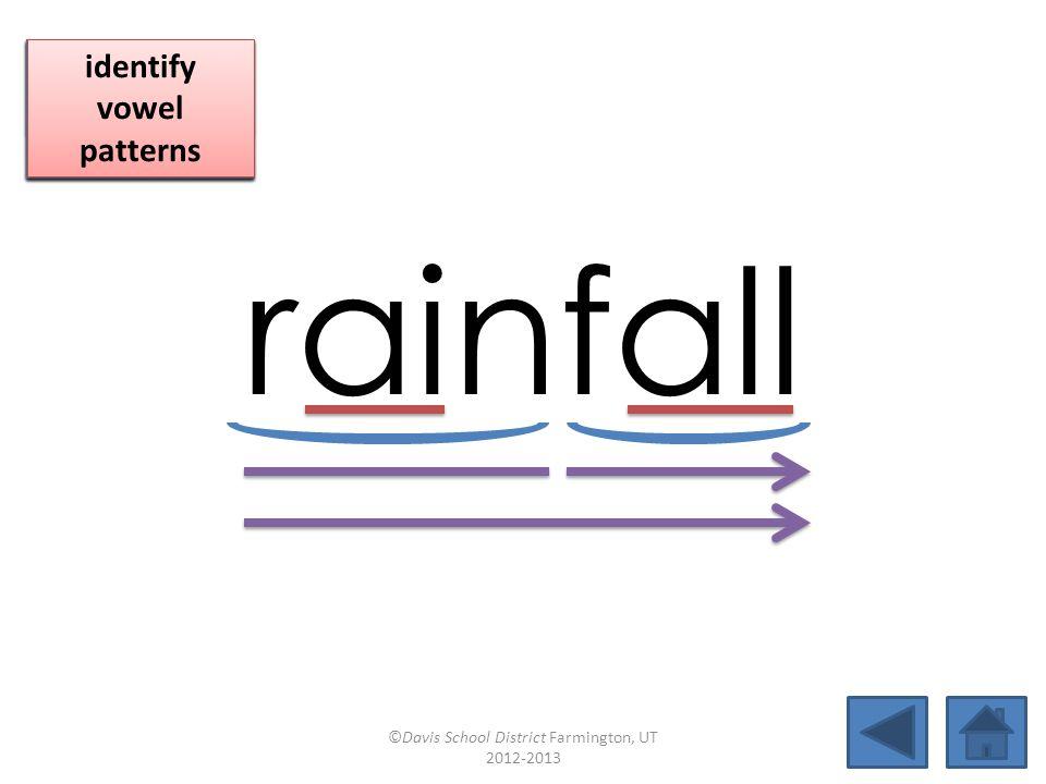 rainfall blend together identify vowel patterns blend individual syllables identify vowel patterns blend individual syllables identify vowel patterns ©Davis School District Farmington, UT 2012-2013
