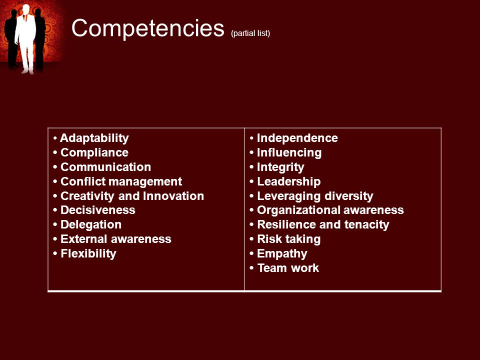 Competencies (partial list) Adaptability Compliance Communication Conflict management Creativity and Innovation Decisiveness Delegation External awareness Flexibility Independence Influencing Integrity Leadership Leveraging diversity Organizational awareness Resilience and tenacity Risk taking Empathy Team work