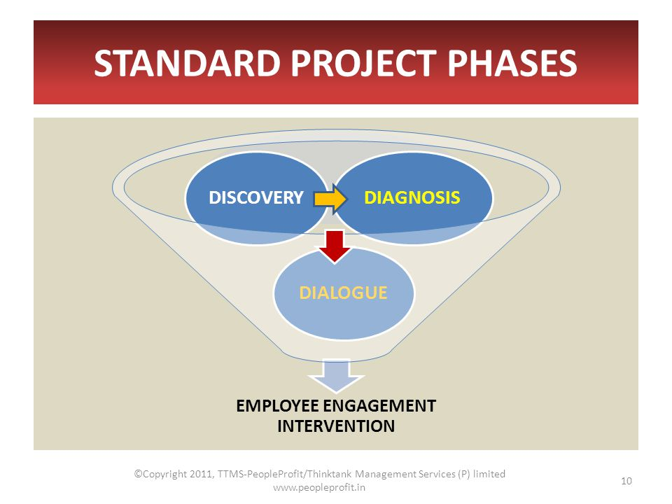STANDARD PROJECT PHASES EMPLOYEE ENGAGEMENT INTERVENTION DIALOGUEDISCOVERYDIAGNOSIS ©Copyright 2011, TTMS-PeopleProfit/Thinktank Management Services (P) limited www.peopleprofit.in 10
