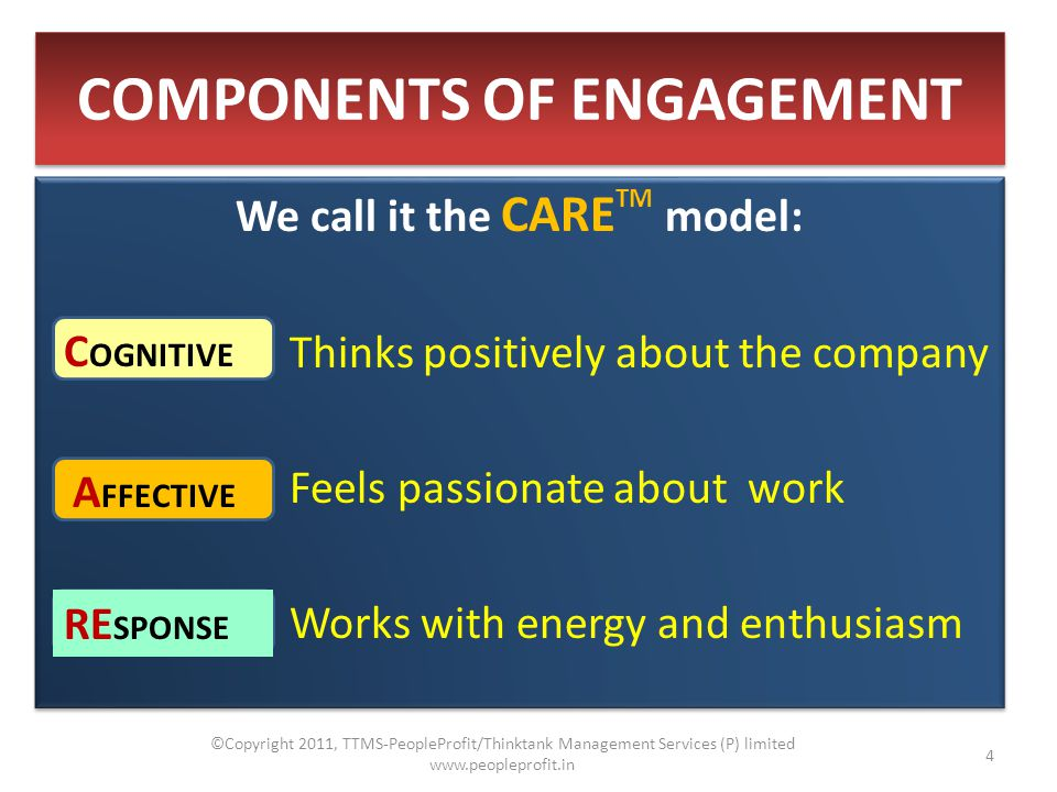 COMPONENTS OF ENGAGEMENT We call it the CARE TM model: Thinks positively about the company Feels passionate about work Works with energy and enthusiasm We call it the CARE TM model: Thinks positively about the company Feels passionate about work Works with energy and enthusiasm C OGNITIVE A FFECTIVE RE SPONSE 4 ©Copyright 2011, TTMS-PeopleProfit/Thinktank Management Services (P) limited www.peopleprofit.in