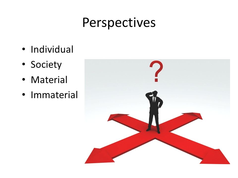 Perspectives Individual Society Material Immaterial