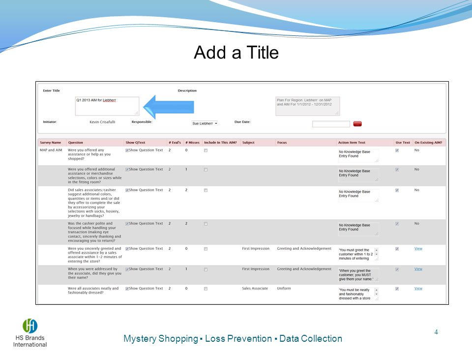 Mystery Shopping ▪ Loss Prevention ▪ Data Collection Add a Title 4