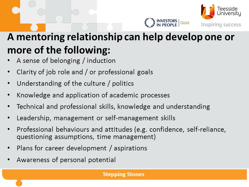 Stepping Stones A mentoring relationship can help develop one or more of the following: A sense of belonging / induction Clarity of job role and / or