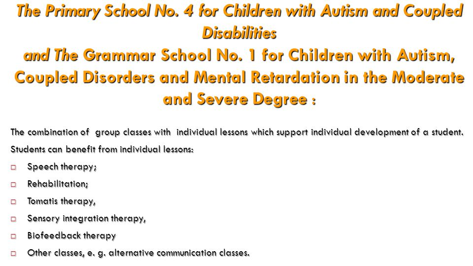 The Primary School No. 4 for Children with Autism and Coupled Disabilities and The Grammar School No. 1 for Children with Autism, Coupled Disorders an