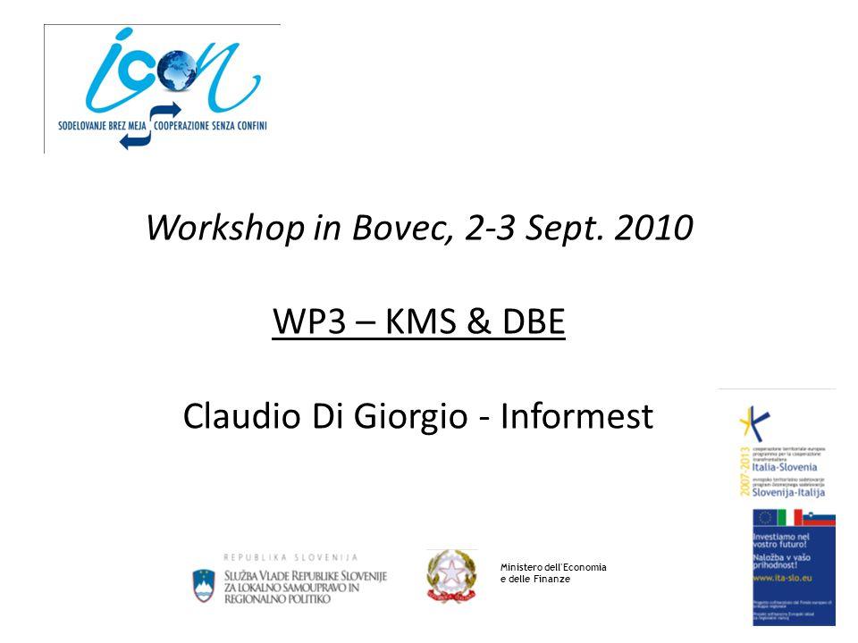 Workshop in Bovec, 2-3 Sept. 2010 WP3 – KMS & DBE Claudio Di Giorgio - Informest Ministero dell'Economia e delle Finanze