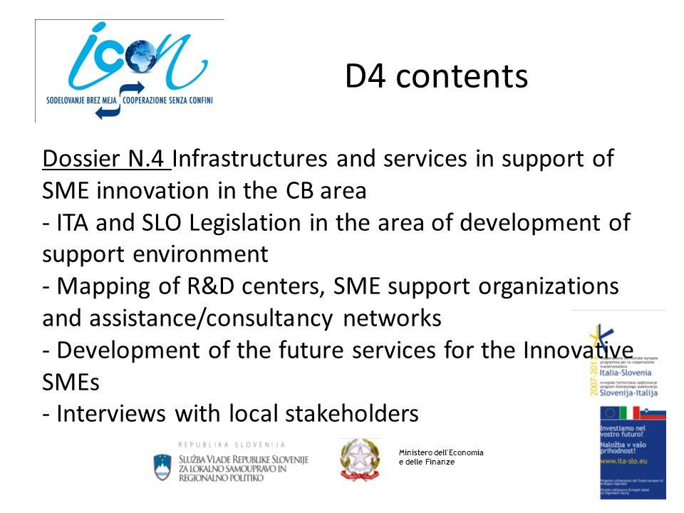 D4 contents Ministero dell'Economia e delle Finanze Dossier N.4 Infrastructures and services in support of SME innovation in the CB area - ITA and SLO