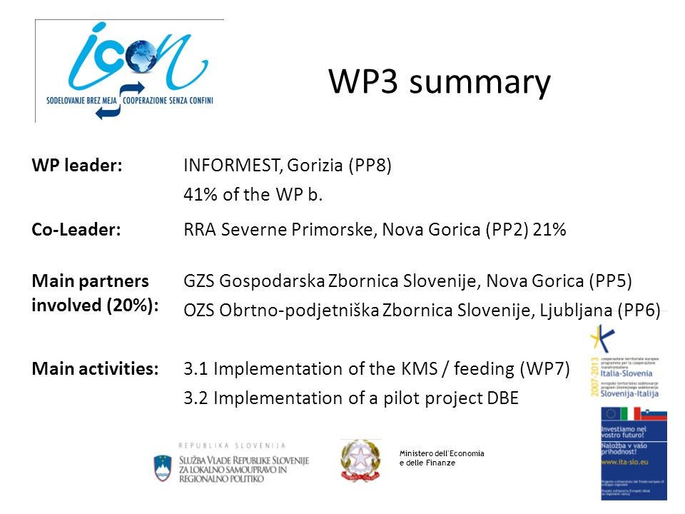 WP3 summary Ministero dell'Economia e delle Finanze WP leader:INFORMEST, Gorizia (PP8) 41% of the WP b. Co-Leader:RRA Severne Primorske, Nova Gorica (