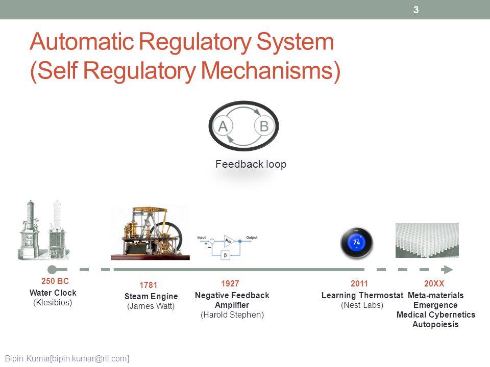Automatic Regulatory System (Self Regulatory Mechanisms) Water Clock (Ktesibios) 250 BC Steam Engine (James Watt) 1781 Negative Feedback Amplifier (Ha