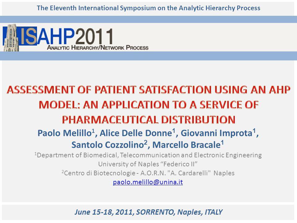 The Eleventh International Symposium on the Analytic Hierarchy Process Paolo Melillo 1, Alice Delle Donne 1, Giovanni Improta 1, Santolo Cozzolino 2,