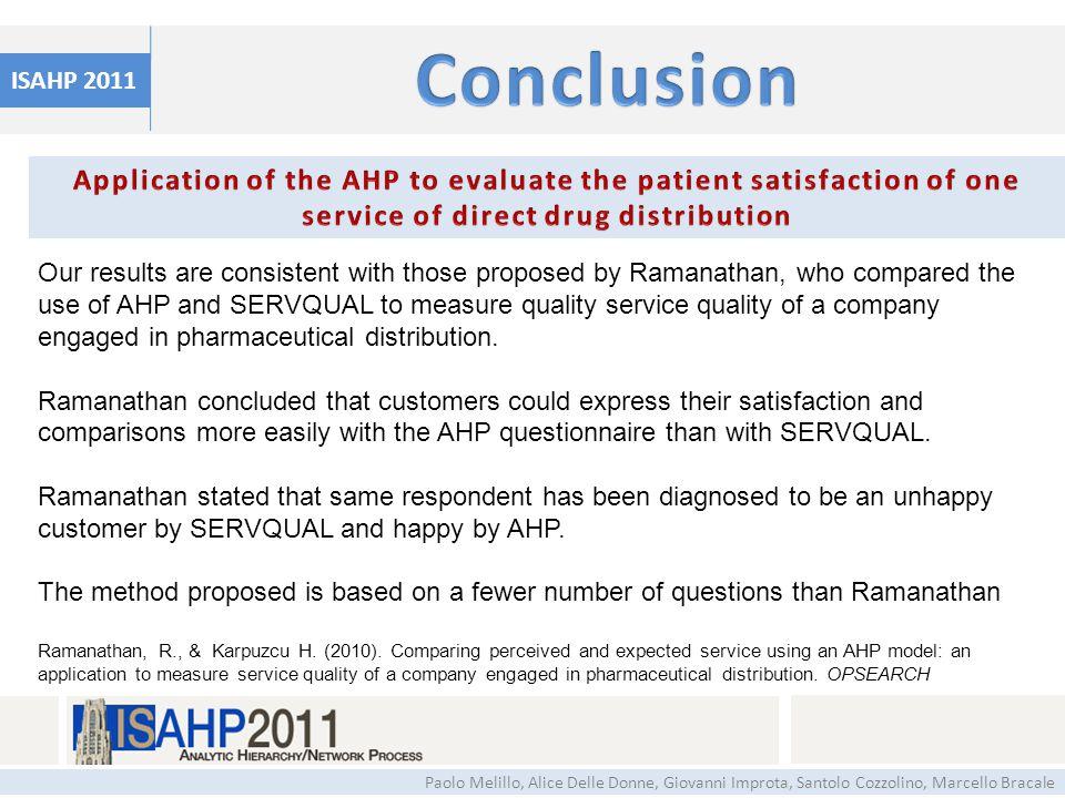 ISAHP 2011 Paolo Melillo, Alice Delle Donne, Giovanni Improta, Santolo Cozzolino, Marcello Bracale Our results are consistent with those proposed by R