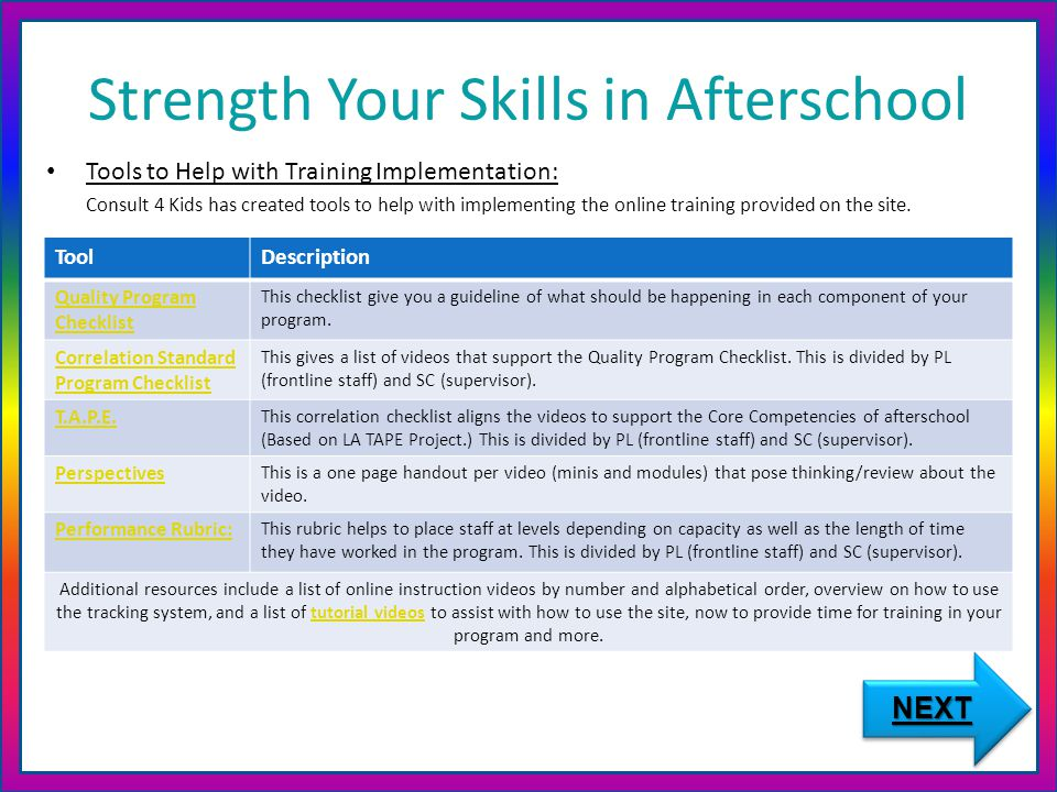 Strength Your Skills in Afterschool Tools to Help with Training Implementation: Consult 4 Kids has created tools to help with implementing the online training provided on the site.