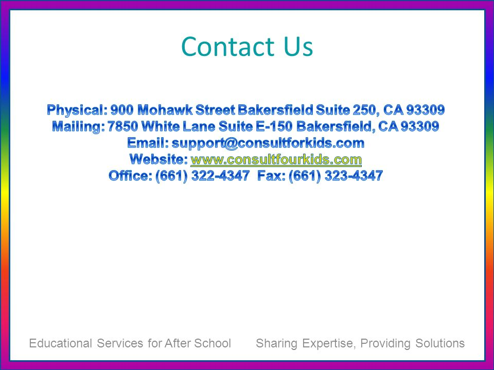 Contact Us Educational Services for After School Sharing Expertise, Providing Solutions