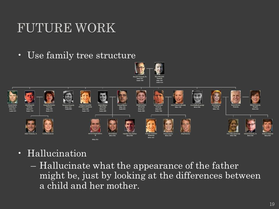 FUTURE WORK Use family tree structure Hallucination –Hallucinate what the appearance of the father might be, just by looking at the differences betwee