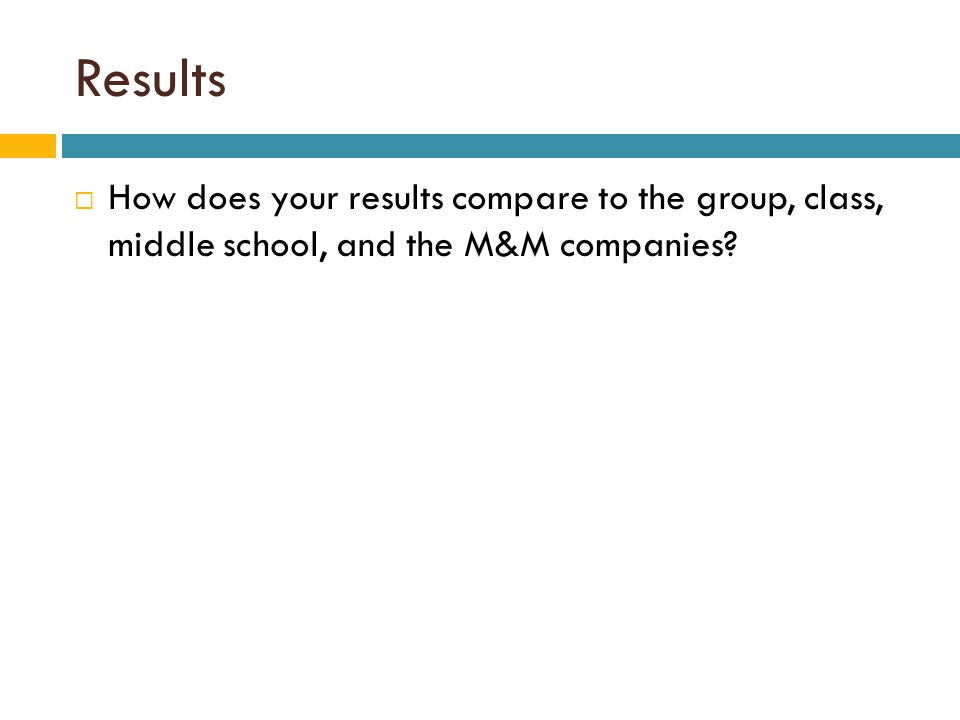 Results  How does your results compare to the group, class, middle school, and the M&M companies