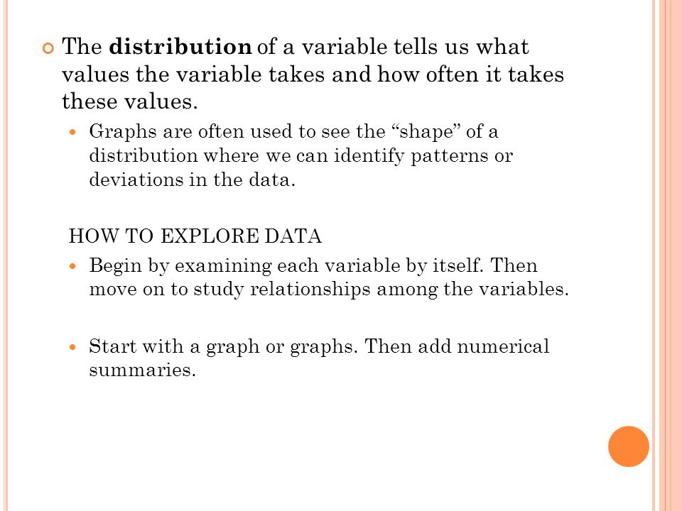 The distribution of a variable tells us what values the variable takes and how often it takes these values.