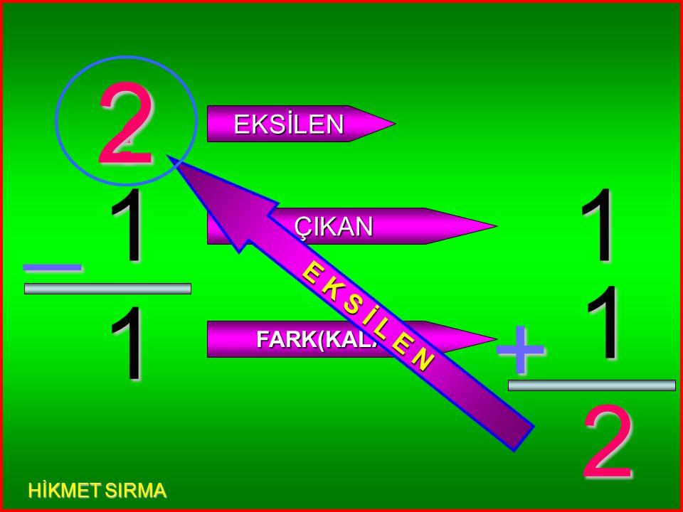 5 0 _ ? EKSİLEN ÇIKAN FARK(KALAN) 5 0 + 5 E K S İ L E N 5 HİKMET SIRMA