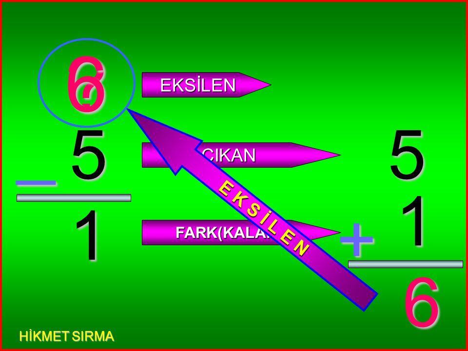 3 2 _ EKSİLEN ÇIKAN FARK(KALAN) 3 2 + 5 E K S İ L E N 5 HİKMET SIRMA