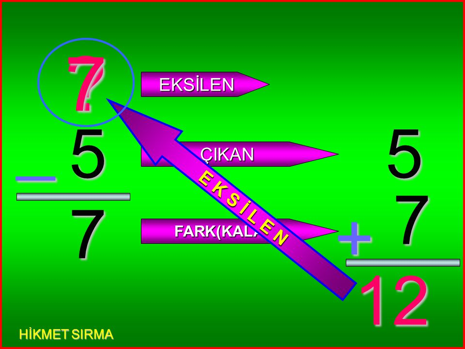 4 3 _ EKSİLEN ÇIKAN FARK(KALAN) 4 3 + 7 E K S İ L E N 7 HİKMET SIRMA
