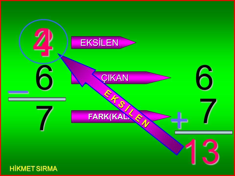 4 0 _ EKSİLEN ÇIKAN FARK(KALAN) 4 0 + 4 E K S İ L E N 4 HİKMET SIRMA