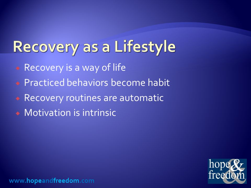 www.hopeandfreedom.com ActivityPoints Possible Meetings7x Sponsor/Sponsee Meeting5 Step Work (for every 45 min) 2x Program Calls (max 2 pt/day) 1x or 2x Recovery-Related Reading (30 min) 1x Recovery Night (min 2 hr focused work) 4 Recovery Activity With Partner2x