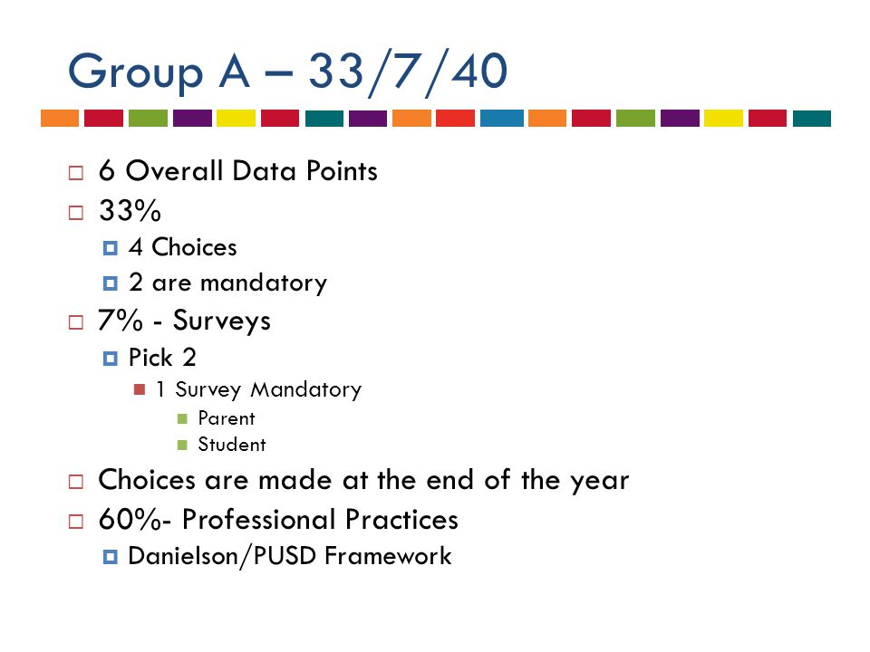 Group A – 33/7/40  6 Overall Data Points  33%  4 Choices  2 are mandatory  7% - Surveys  Pick 2 1 Survey Mandatory Parent Student  Choices are made at the end of the year  60%- Professional Practices  Danielson/PUSD Framework