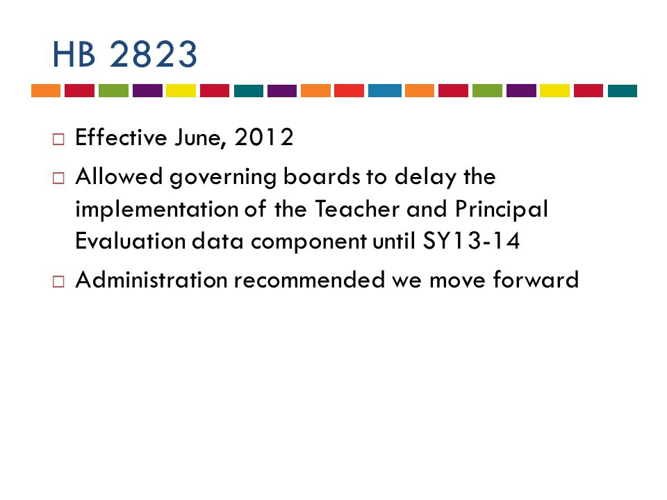 HB 2823  Effective June, 2012  Allowed governing boards to delay the implementation of the Teacher and Principal Evaluation data component until SY13-14  Administration recommended we move forward