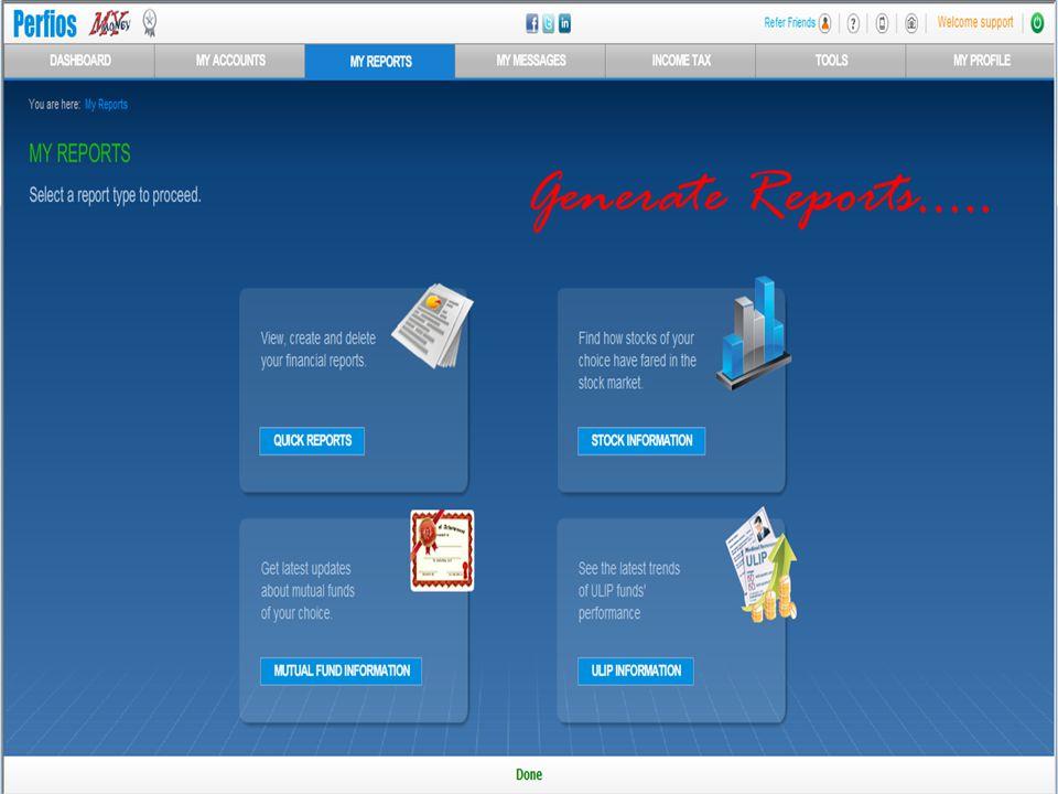 Generate Reports…..