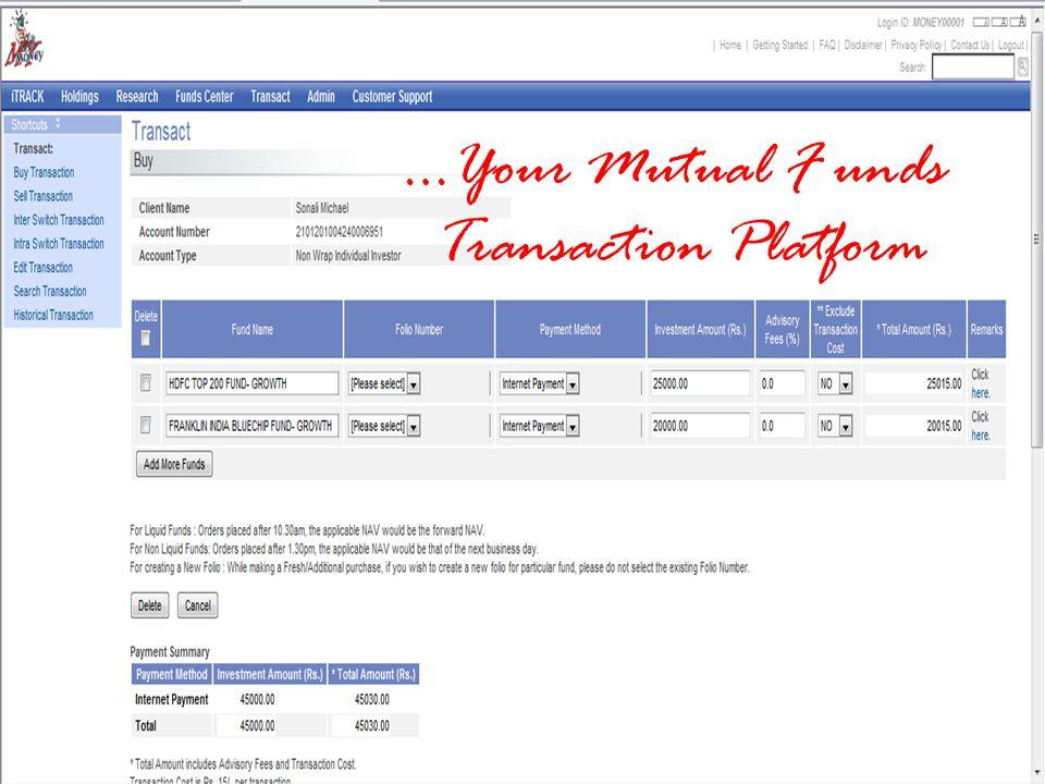 …Your Mutual F unds Transaction Platform
