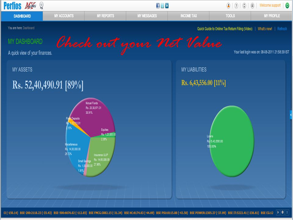 Check out your Net Value