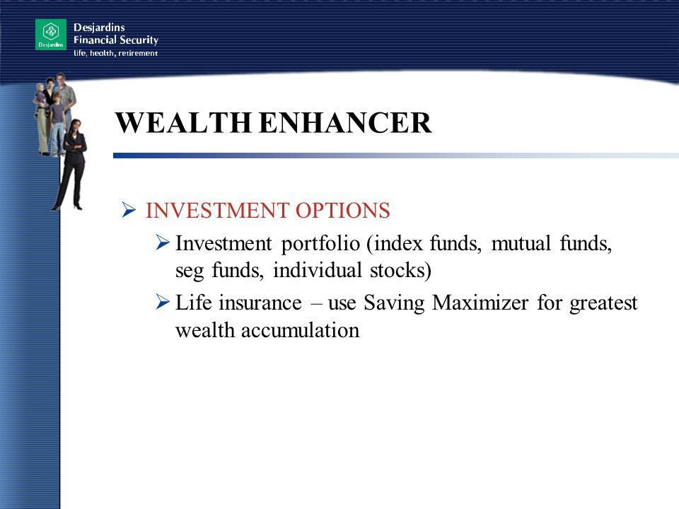 WEALTH ENHANCER  INVESTMENT OPTIONS  Investment portfolio (index funds, mutual funds, seg funds, individual stocks)  Life insurance – use Saving Maximizer for greatest wealth accumulation