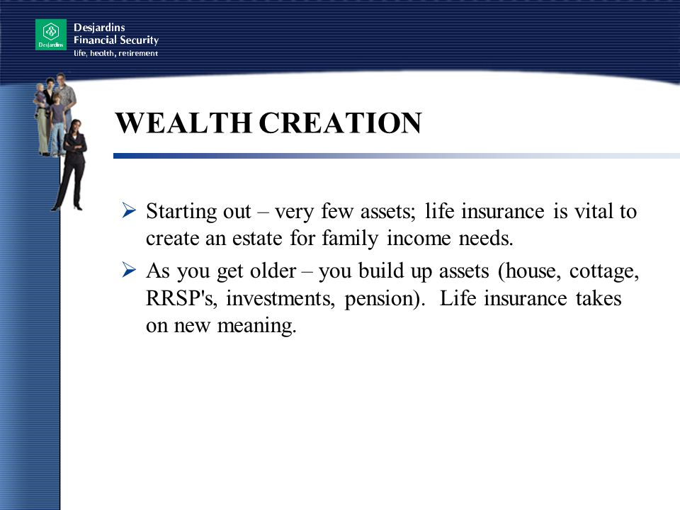 WEALTH CREATION  Starting out – very few assets; life insurance is vital to create an estate for family income needs.