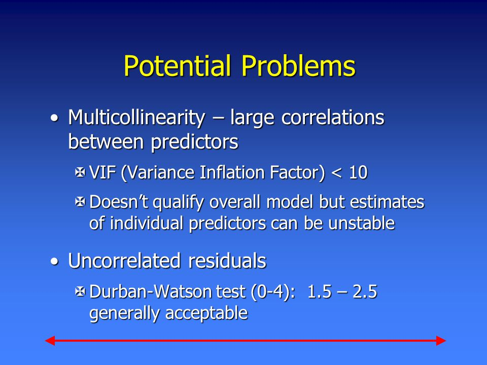 Potential Problems Multicollinearity – large correlations between predictorsMulticollinearity – large correlations between predictors XVIF (Variance I