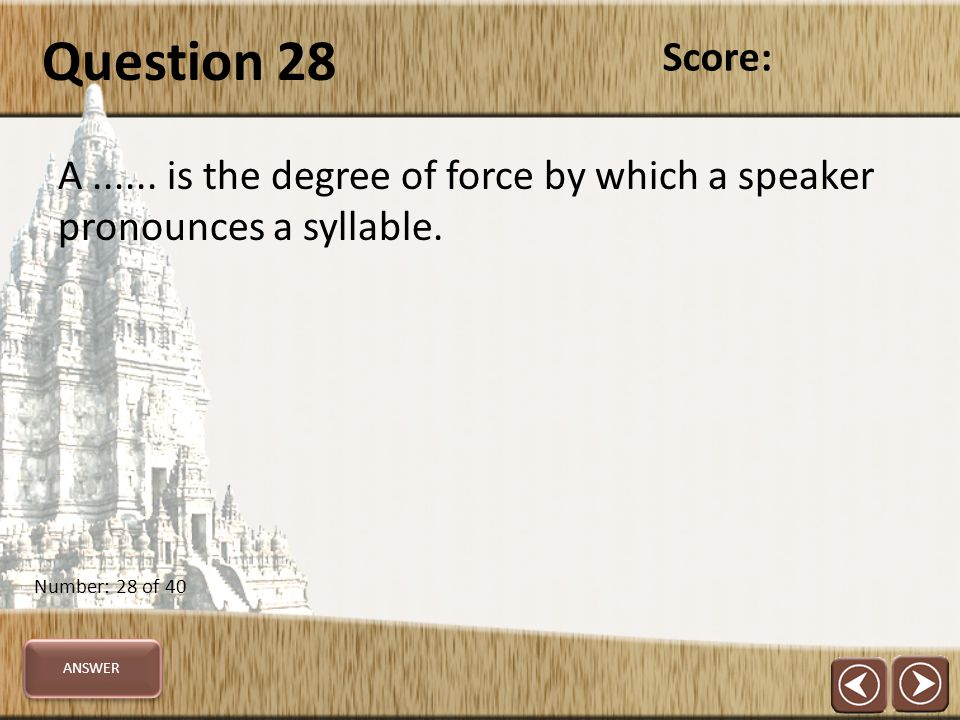 Question 28 A...... is the degree of force by which a speaker pronounces a syllable.