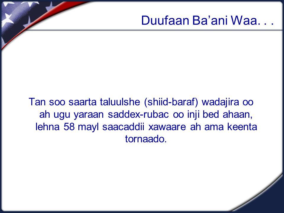 Duufaan Ba'ani Waa... Tan soo saarta taluulshe (shiid-baraf) wadajira oo ah ugu yaraan saddex-rubac oo inji bed ahaan, lehna 58 mayl saacaddii xawaare