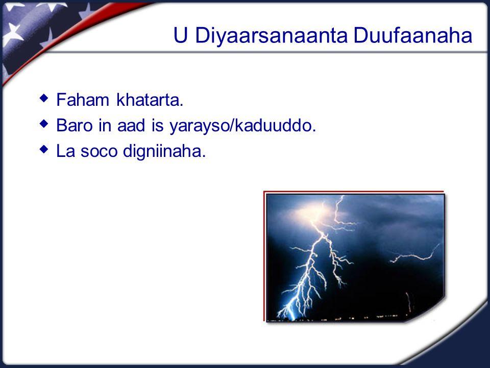 U Diyaarsanaanta Duufaanaha  Faham khatarta.  Baro in aad is yarayso/kaduuddo.  La soco digniinaha.