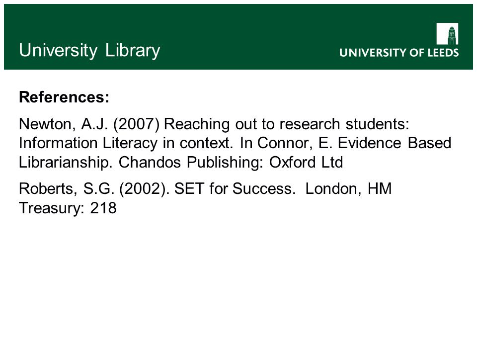 University Library References: Newton, A.J.