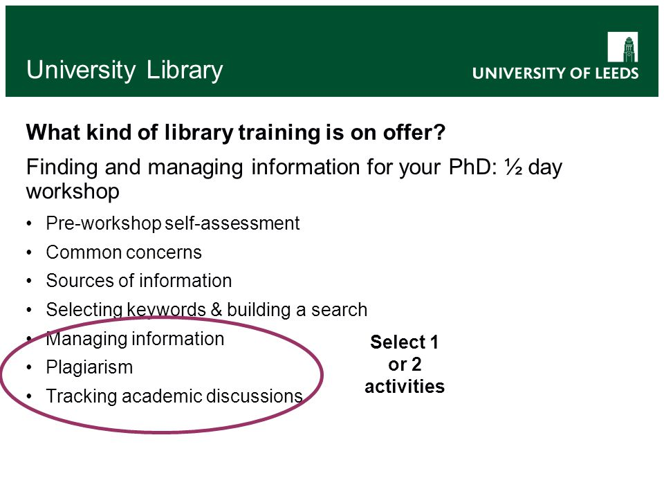 University Library Finding & managing information for your PhD Pre-workshop self-assessment helps: Students think about their skills & habits Faculty Team Librarians find out more about the needs/abilities of the students Mixed learning & teaching methods Presentations Group work & discussion MindMapping E-learning activitiesE-learning Self-directed learning