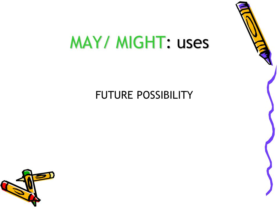 MAY/ MIGHT: uses FUTURE POSSIBILITY