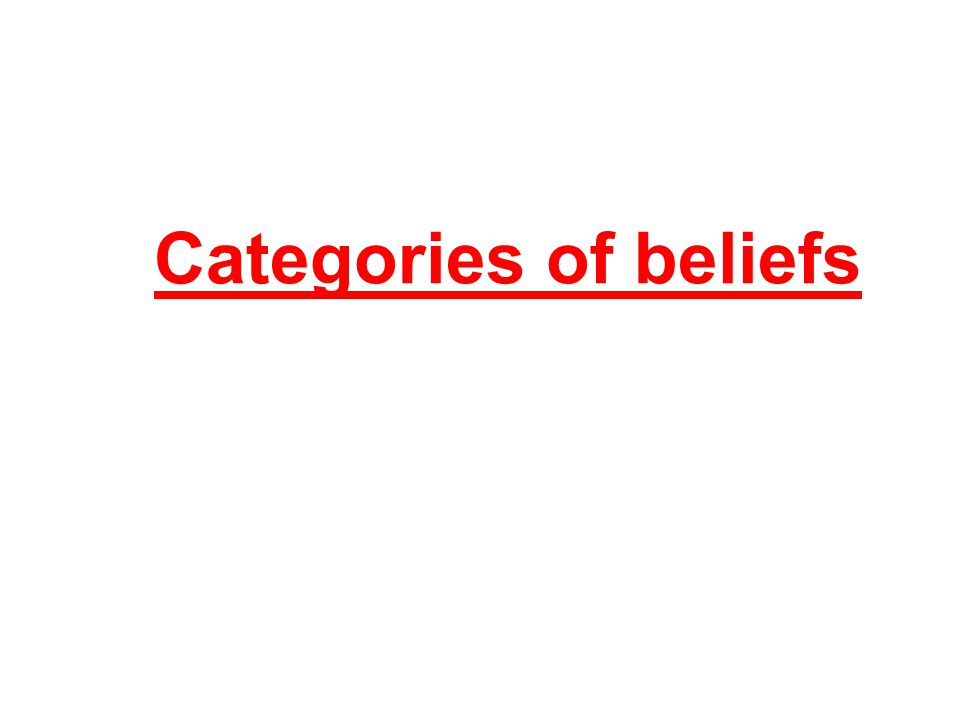 Categories of beliefs