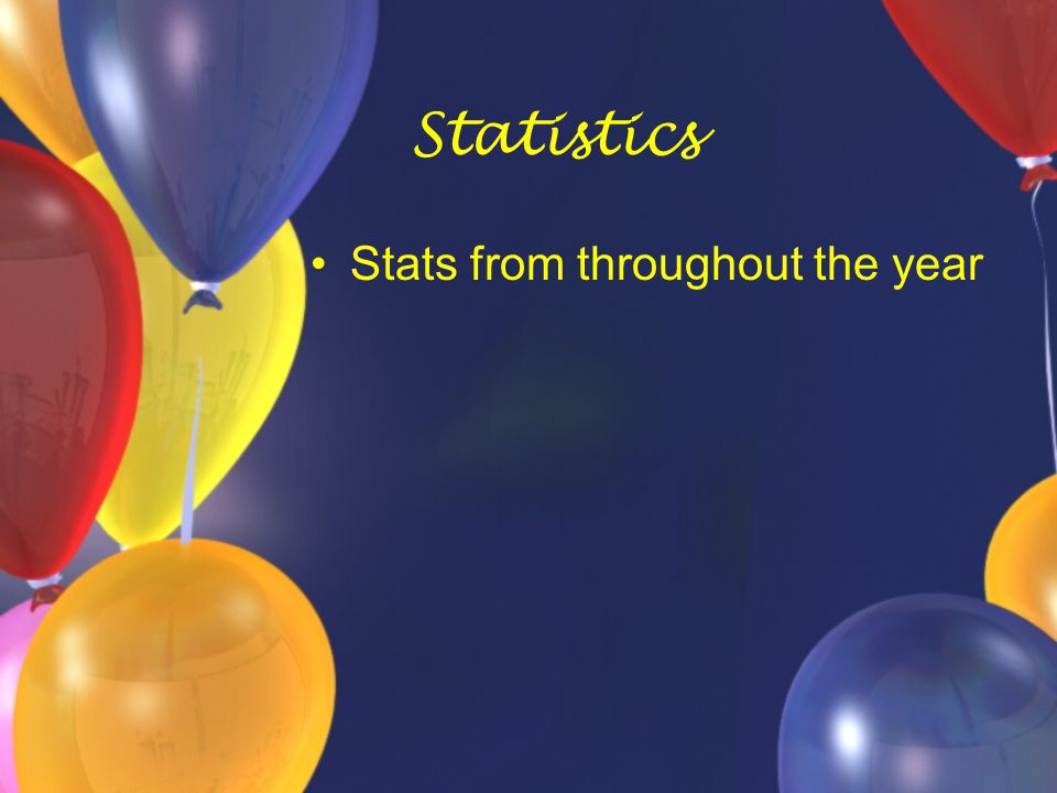 Statistics Stats from throughout the year