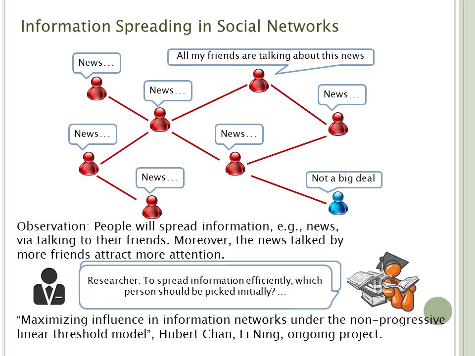 Observation: People will spread information, e.g., news, via talking to their friends.