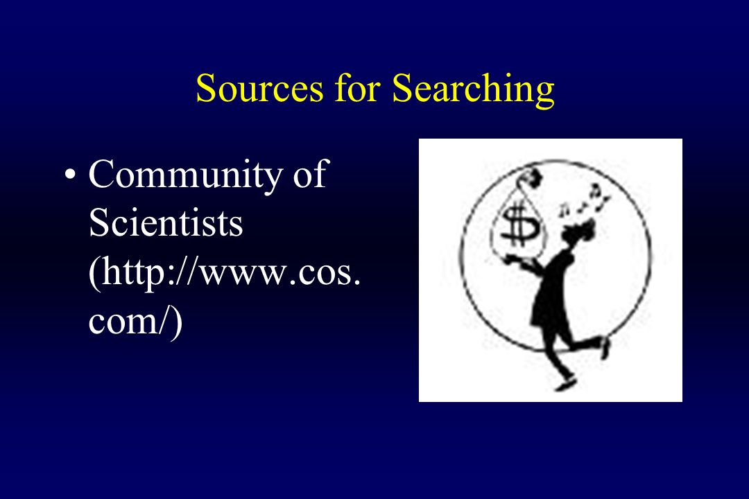 Sources for Searching Community of Scientists (http://www.cos. com/)