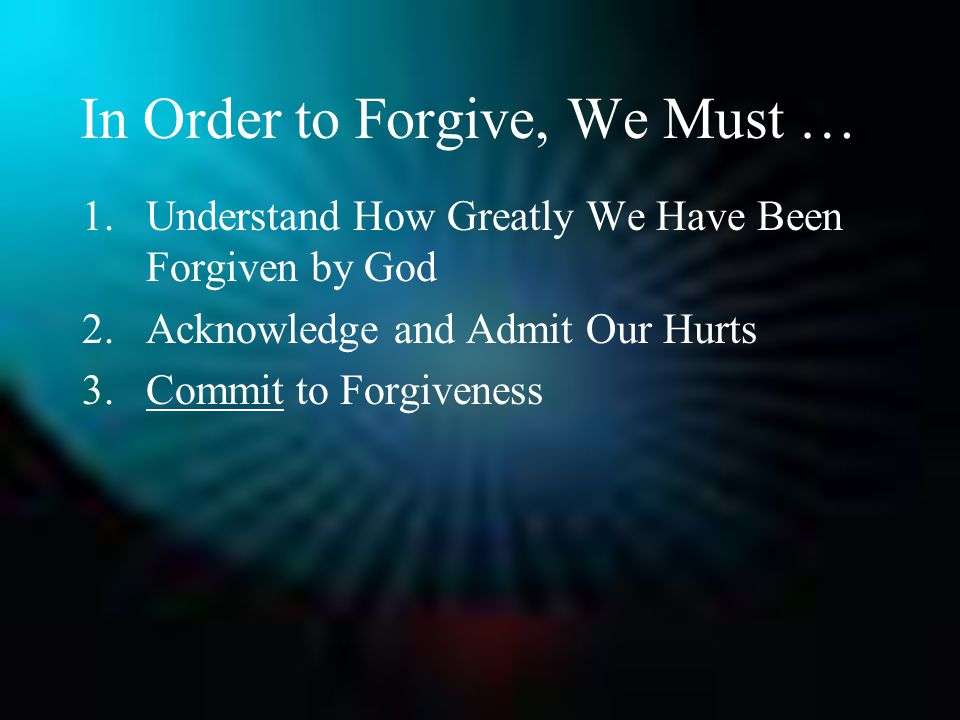 In Order to Forgive, We Must … 1.Understand How Greatly We Have Been Forgiven by God 2.Acknowledge and Admit Our Hurts 3.Commit to Forgiveness