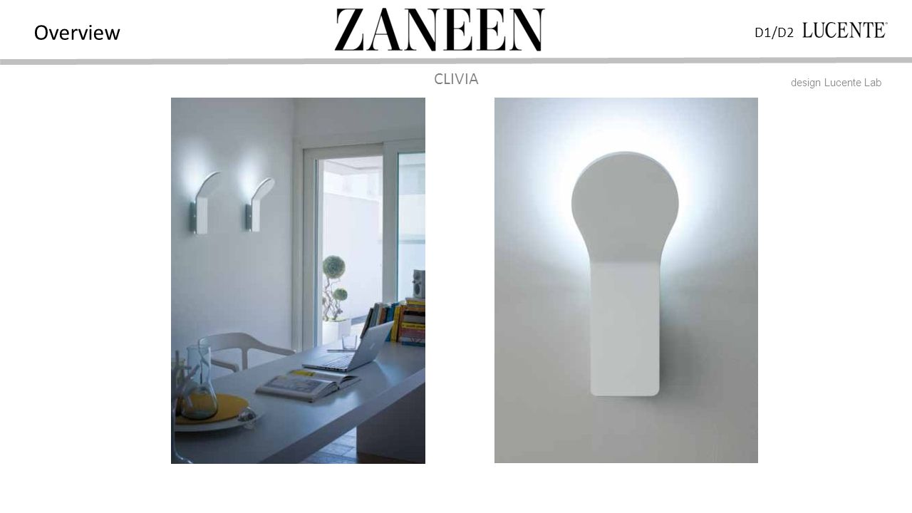 D1/D2 Overview CLIVIA design Lucente Lab