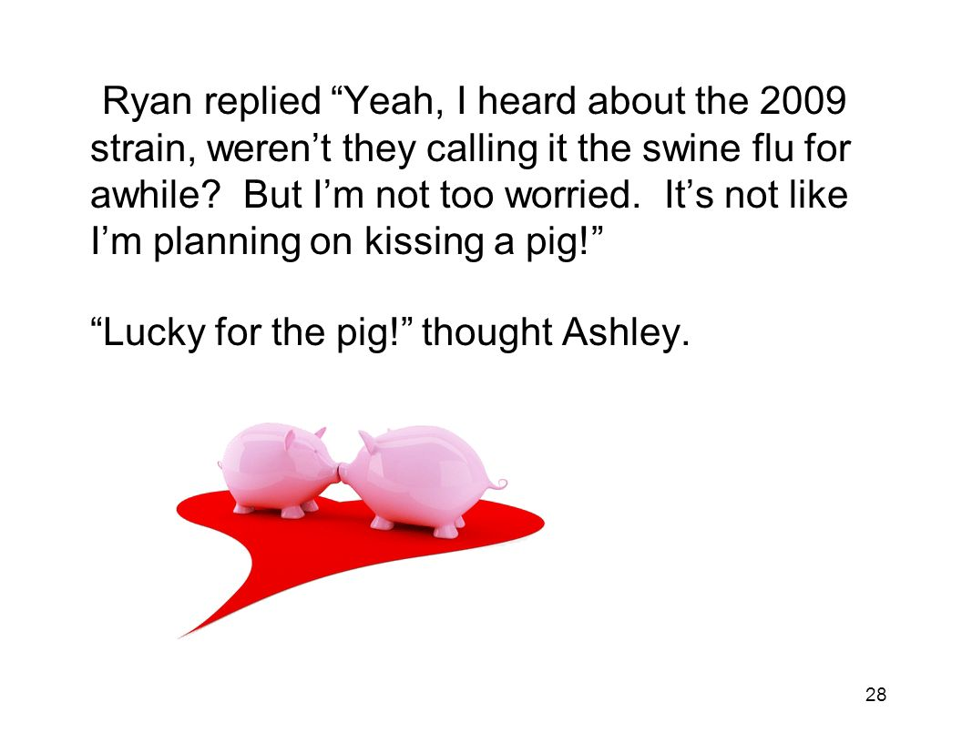 28 Ryan replied Yeah, I heard about the 2009 strain, weren't they calling it the swine flu for awhile.