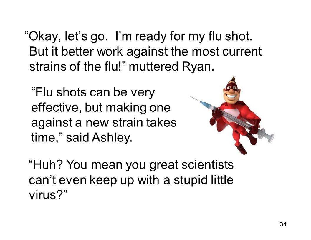 """34 """"Okay, let's go. I'm ready for my flu shot. But it better work against the most current strains of the flu!"""" muttered Ryan. """"Flu shots can be very"""