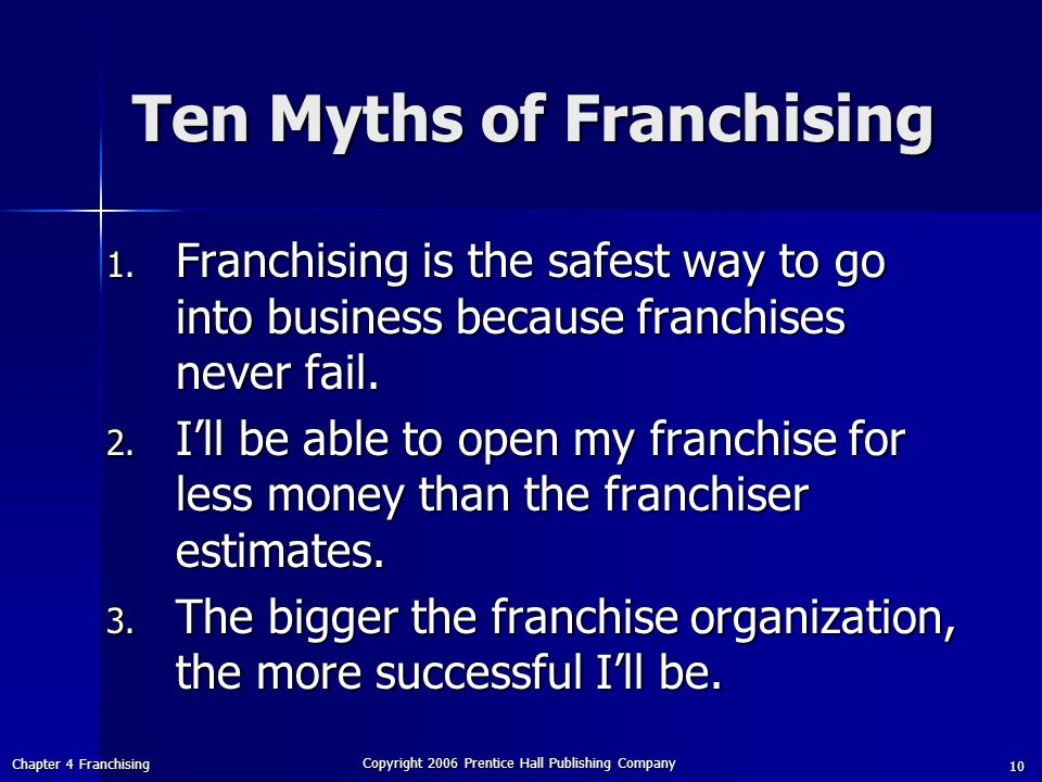 Chapter 4 Franchising Copyright 2006 Prentice Hall Publishing Company 10 Ten Myths of Franchising 1.