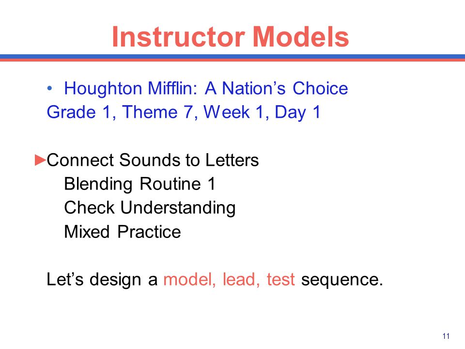 10 Instructor Models Model: 1. I'll say the sounds in boat - /b/-/o/-/t/.