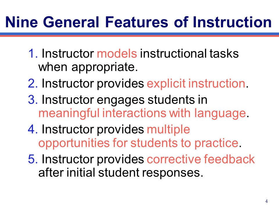 Nine General Features of Instruction = Quality of Implementation