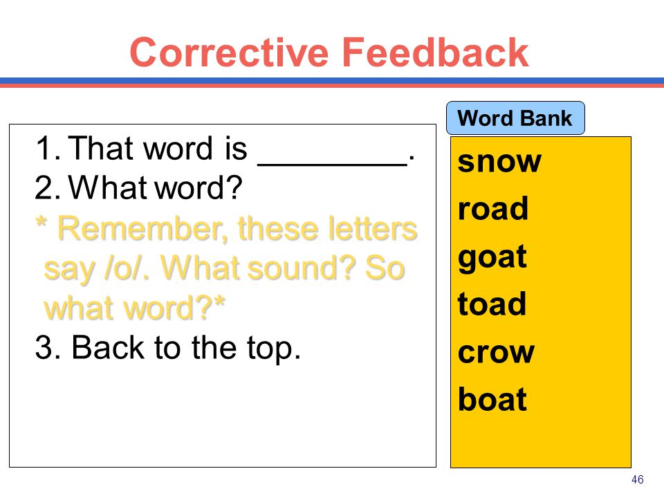 45 Corrective Feedback Part Firming Paradigm: 1.Tell the answer.